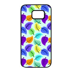 Colorful Leaves Blue Samsung Galaxy S7 Edge Black Seamless Case by snowwhitegirl