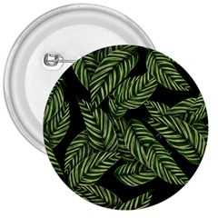 Tropical Leaves On Black 3  Buttons by snowwhitegirl