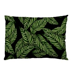 Tropical Leaves On Black Pillow Case by snowwhitegirl