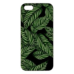 Tropical Leaves On Black Apple Iphone 5 Premium Hardshell Case by snowwhitegirl