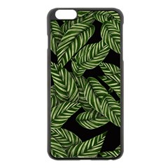 Tropical Leaves On Black Apple Iphone 6 Plus/6s Plus Black Enamel Case by snowwhitegirl