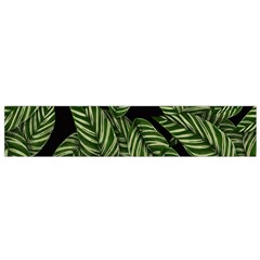 Tropical Leaves On Black Small Flano Scarf by snowwhitegirl