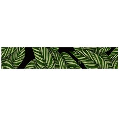 Tropical Leaves On Black Large Flano Scarf  by snowwhitegirl