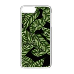 Tropical Leaves On Black Apple Iphone 7 Plus Seamless Case (white) by snowwhitegirl