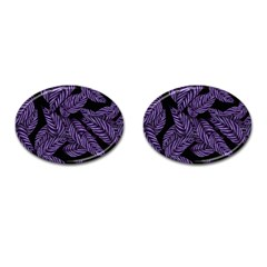 Tropical Leaves Purple Cufflinks (oval) by snowwhitegirl