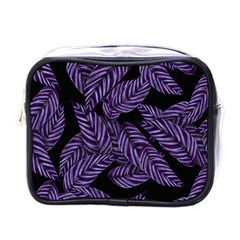 Tropical Leaves Purple Mini Toiletries Bag (one Side) by snowwhitegirl