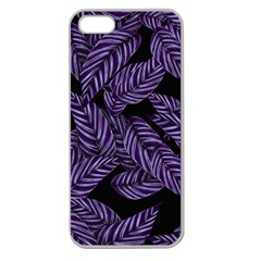 Tropical Leaves Purple Apple Seamless Iphone 5 Case (clear) by snowwhitegirl