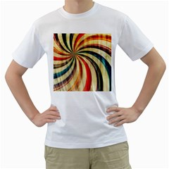 Abstract Rainbow Swirl Men s T Shirt (white) (two Sided) by snowwhitegirl
