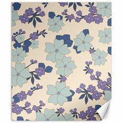 Vintage Floral Blue Pattern Canvas 8  X 10  by snowwhitegirl