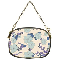 Vintage Floral Blue Pattern Chain Purse (two Sides) by snowwhitegirl