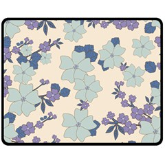 Vintage Floral Blue Pattern Double Sided Fleece Blanket (medium)  by snowwhitegirl