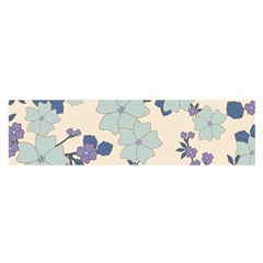 Vintage Floral Blue Pattern Satin Scarf (oblong)