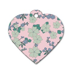 Vintage Floral Lilac Pattern Pink Dog Tag Heart (one Side) by snowwhitegirl