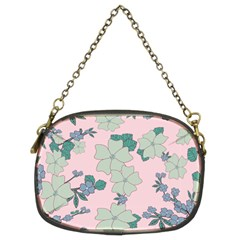 Vintage Floral Lilac Pattern Pink Chain Purse (two Sides) by snowwhitegirl