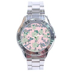 Vintage Floral Lilac Pattern Pink Stainless Steel Analogue Watch by snowwhitegirl