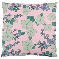 Vintage Floral Lilac Pattern Pink Large Cushion Case (two Sides) by snowwhitegirl