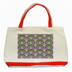 Vintage Scallop Violet Green Pattern Classic Tote Bag (red) by snowwhitegirl