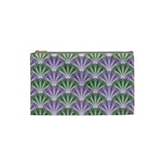 Vintage Scallop Violet Green Pattern Cosmetic Bag (small) by snowwhitegirl