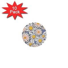 Vintage White Flowers 1  Mini Buttons (10 Pack)