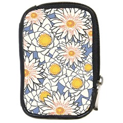 Vintage White Flowers Compact Camera Leather Case by snowwhitegirl