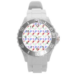 Colorful Cherubs White Round Plastic Sport Watch (l) by snowwhitegirl
