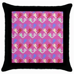 Colorful Cherubs Pink Throw Pillow Case (black) by snowwhitegirl