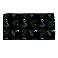 Gothic Girl Rose Black Pattern Pencil Cases