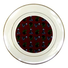 Gothic Girl Rose Red Pattern Porcelain Plates by snowwhitegirl