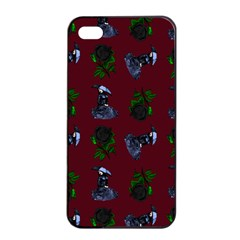 Gothic Girl Rose Red Pattern Apple Iphone 4/4s Seamless Case (black) by snowwhitegirl