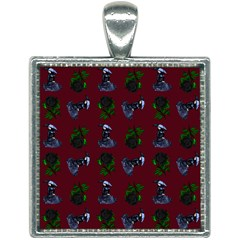 Gothic Girl Rose Red Pattern Square Necklace by snowwhitegirl