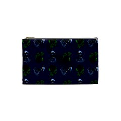 Gothic Girl Rose Blue Pattern Cosmetic Bag (small) by snowwhitegirl