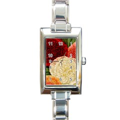 Vintage Carnation Flowers Rectangle Italian Charm Watch by snowwhitegirl