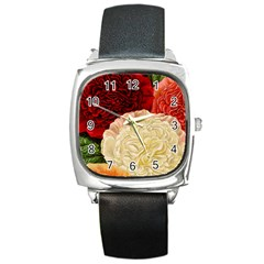 Vintage Carnation Flowers Square Metal Watch by snowwhitegirl