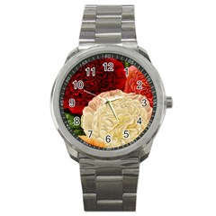 Vintage Carnation Flowers Sport Metal Watch by snowwhitegirl
