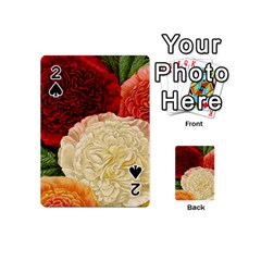 Vintage Carnation Flowers Playing Cards 54 (mini) by snowwhitegirl