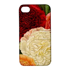 Vintage Carnation Flowers Apple Iphone 4/4s Hardshell Case With Stand by snowwhitegirl