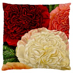 Vintage Carnation Flowers Large Flano Cushion Case (one Side) by snowwhitegirl