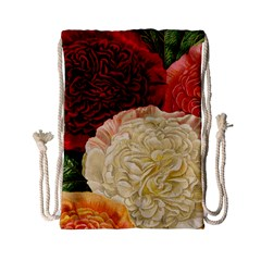 Vintage Carnation Flowers Drawstring Bag (small) by snowwhitegirl