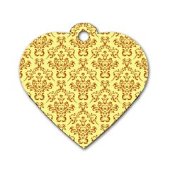 Victorian Paisley Yellow Dog Tag Heart (two Sides) by snowwhitegirl
