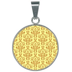 Victorian Paisley Yellow 25mm Round Necklace by snowwhitegirl