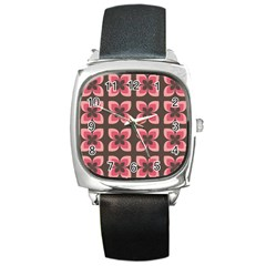 Retro Flower Pink Brown Square Metal Watch