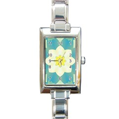 Pattern Flower Abstract Pastel Rectangle Italian Charm Watch by Simbadda
