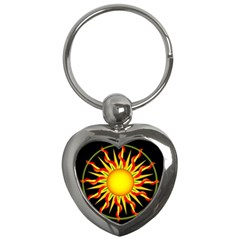 Mandala Sun Graphic Design Key Chains (heart)