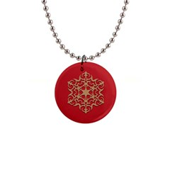 Ornament Flower Pattern Jewelry 1  Button Necklace