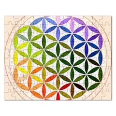 Mandala Rainbow Colorful Reiki Rectangular Jigsaw Puzzl by Simbadda