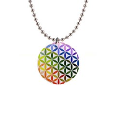 Mandala Rainbow Colorful Reiki 1  Button Necklace