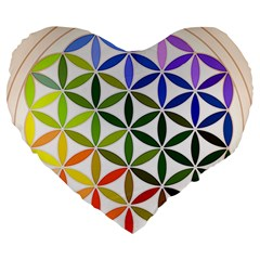 Mandala Rainbow Colorful Reiki Large 19  Premium Heart Shape Cushions