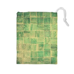 Abstract Green Tile Drawstring Pouch (large) by snowwhitegirl