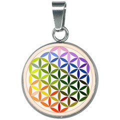 Mandala Rainbow Colorful Reiki 20mm Round Necklace by Simbadda