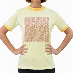 Pink Floral Women s Fitted Ringer T Shirt by snowwhitegirl